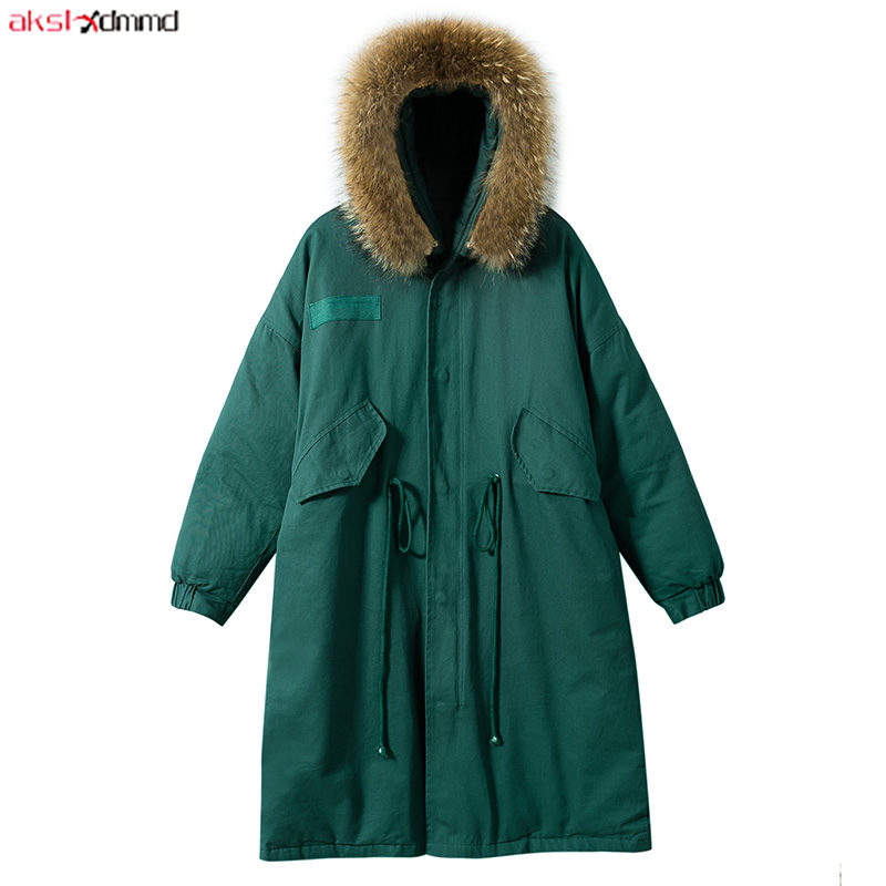 2019 New Women Winter Cotton Coat Long Green Fur Hooded Jacket Warm Outer Loose Casual Vintage Outwear Korean Style   Parkas   AC306