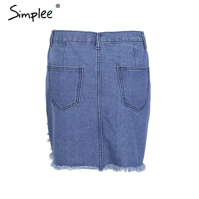 REAL PICTURE-Irregular Pearls Short Jean Skirt