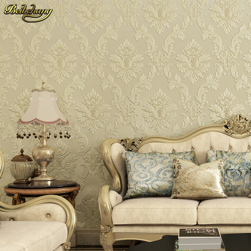beibehang Environmental non - woven European style bedroom TV background wallpaper AB version of the deep embossed living room beibehang wall paper pune wallpaper european damascus ab edition high environmental non woven wallpaper living room bedroom