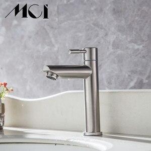 Image 2 - 304 ステンレス鋼単一のコールド迅速オープンタイプキッチン & 洗面台の蛇口錆や耐食性浴室シンク水タップ