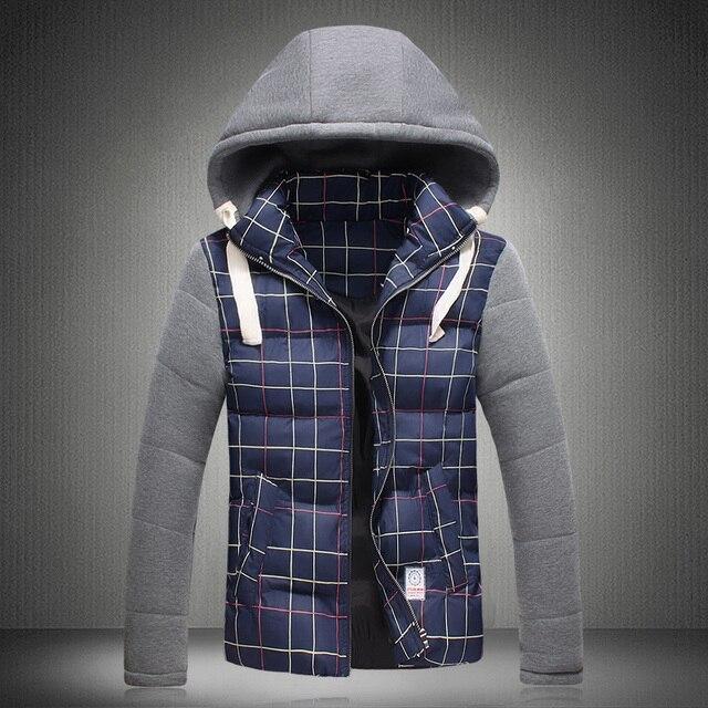 Зима Плед БРИТАНСКИЙ Стиль Европейский Горячая Толстая Плюс Размер 3XL высокое Качество Casaco Masculino Пальто Вниз Хлопка Куртка для Молодых человек