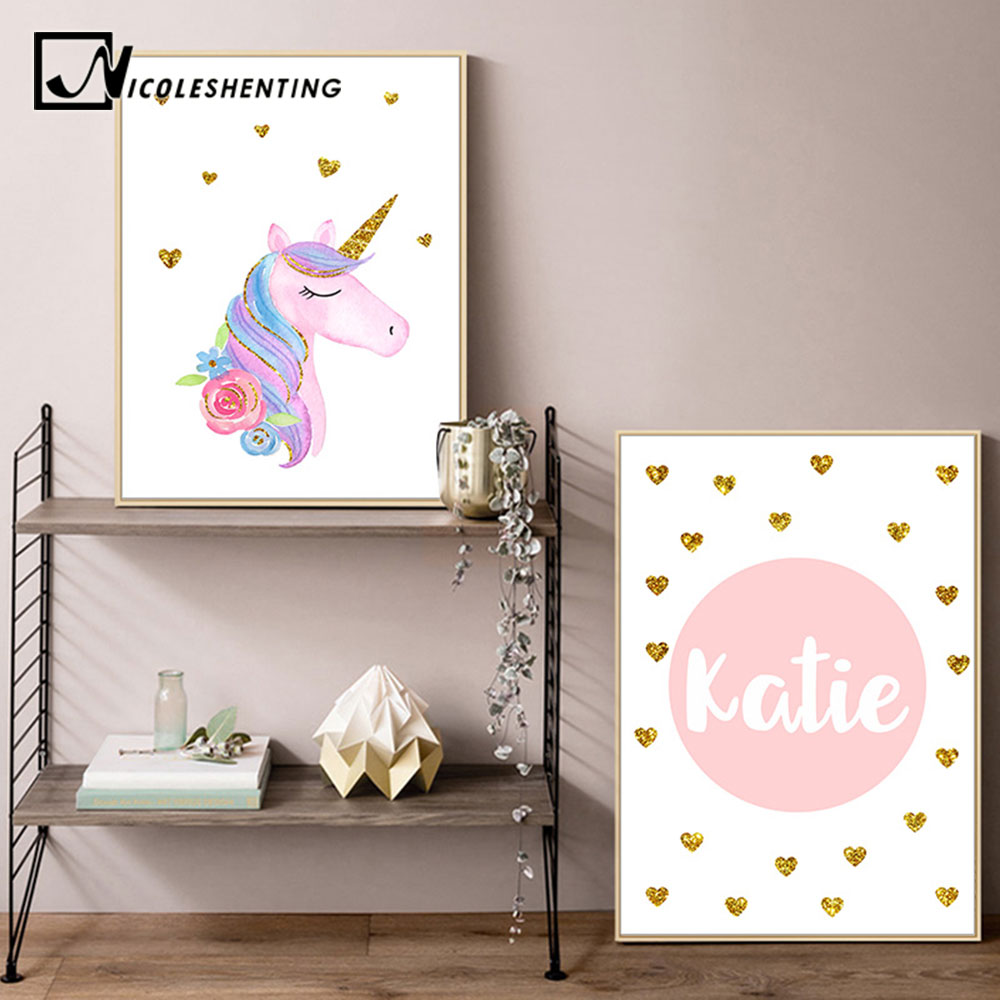 Custom Name Prints Unicorn Nursery Wall Art Canvas Posters