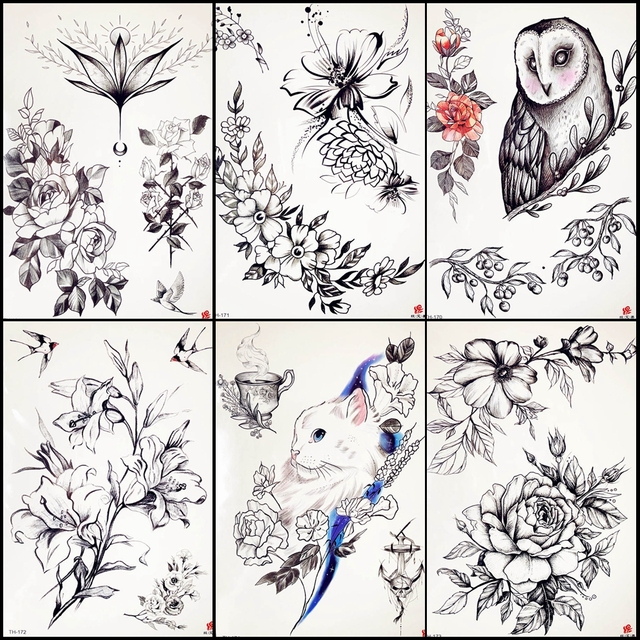 eec6c2a308 US $0.84 5% OFF|Black Bracelet Flower Tattoo Stickers Women Clavicle  Temporary Tattoo Girls Chest Body Art Painting Fake Tattoo Club Waist  Decal-in ...