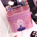2016 Women Glitter Bling Portable Cosmetic Bag Cute Cartoon Girl Vanity Case Shiny PU Leather Ladies Travel Makeup Storage Box