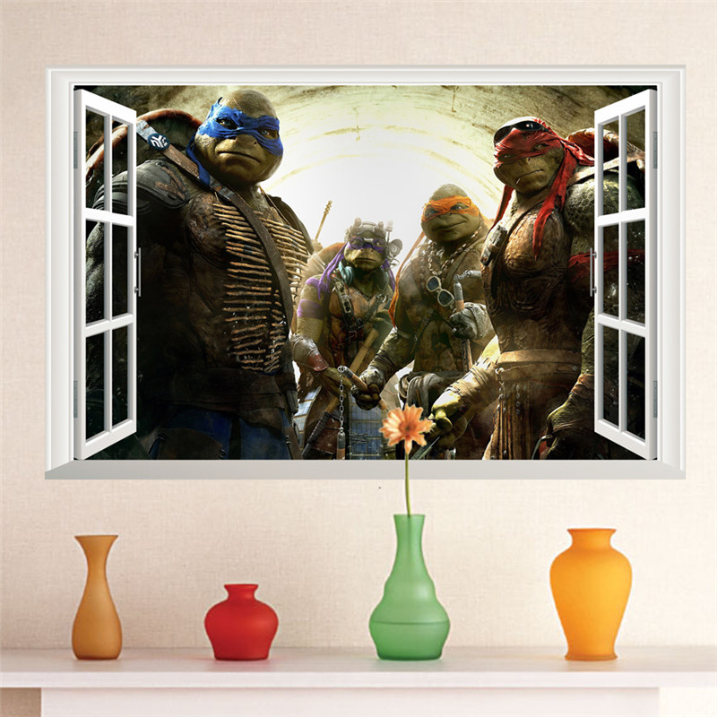 Cartoon Teenage Mutant Ninja Turtles Wall Stickers For Kids Rooms Baby Home Decor Pvc Wall Decals Boys Poster Gift Wallpaper Art