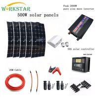 Полный 500 Вт солнечная система для начинающих 5X100 Вт солнечные панели 2000 Вт Инвертор с установкой аксессуары для яхты RV лодка