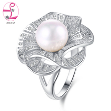 ZHE FAN White Round Shell Pearl Flower Big Rings Pave AAA Cubic Zircon For Women Party Valentines Gift Ring Jewelry