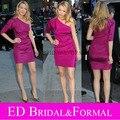 Vestido Da Celebridade curto Fúcsia Um Ombro-Bainha Elastic Tecido Cetim Gossip Girl Fashion Dress Curto Vestido do Baile de finalistas