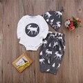 Bebé Ropa de Algodón de Otoño 2016 de La Muchacha de Navidad Mono Pantalones Desgaste de La Cabeza 3 Unids Traje Trajes Set