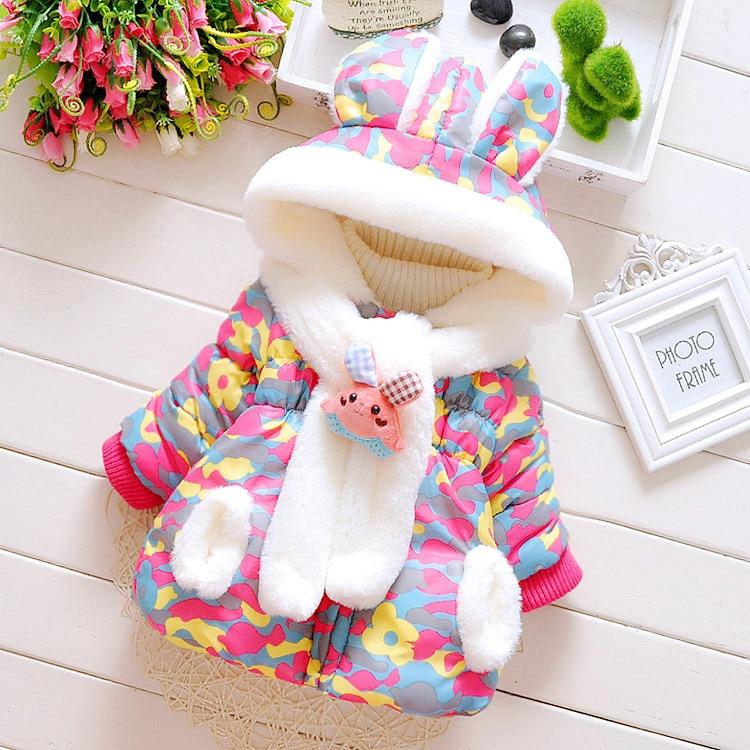 Παιδικό χειμωνιάτικο σακάκι για τα κορίτσια μωρό χαριτωμένο κουνέλι αυτιά κουκούλα σακάκι καμουφλάζ παλτό Kids Down & Parkas 1-2-3 ετών