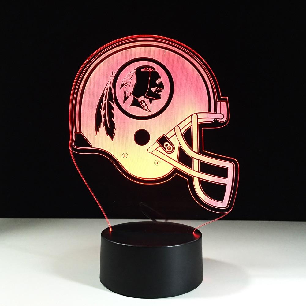 American Football Helmet 3D Lamp LED Sleep Lighting Sports Rugby Cap NightLight Luminaria Light Fixture Christmas Gifts Decor