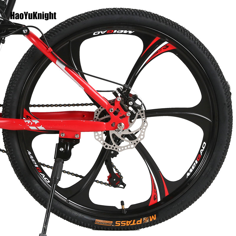 HaoYuKnight Bicycle mountain bike 21 speed off road male and female adult students one spokes wheel HaoYuKnight Bicycle mountain bike 21 speed off-road male and female adult students one spokes wheel folding bicycle