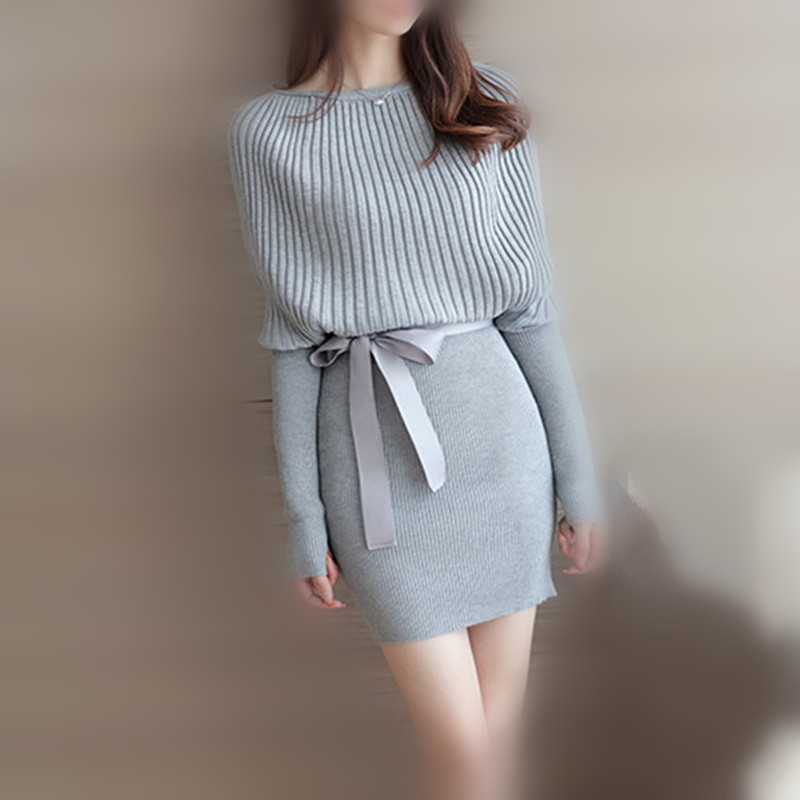 8fe0030bebd New Women Sweater Dress Autumn Slim Batwing Sleeve Bodycon Dresses Elastic  Dress Brief Black Knitted Dress vestidos with belt-in Dresses from Women s  ...
