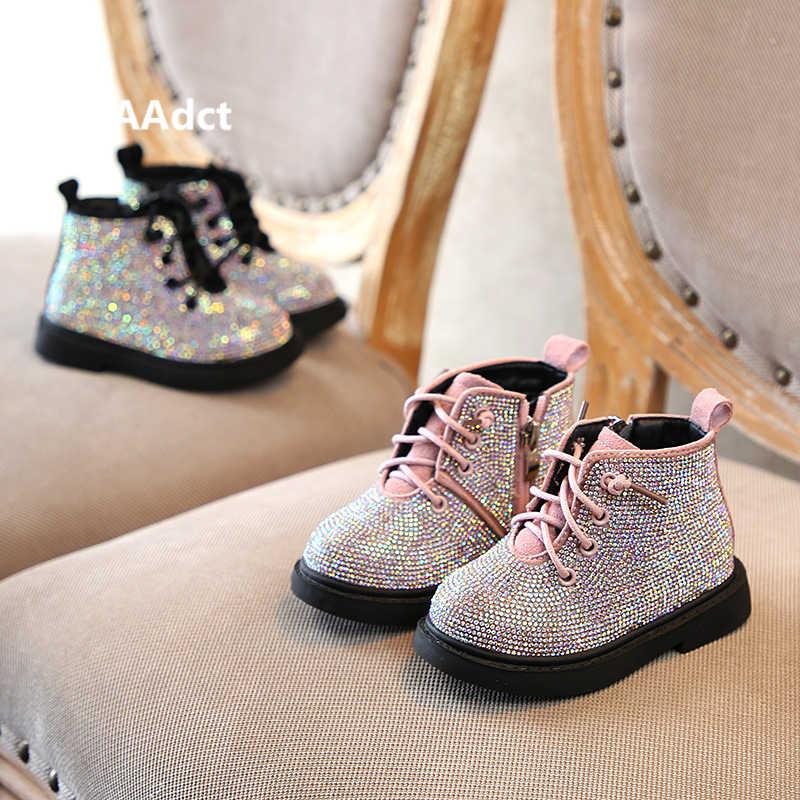 AAdct/теплые хлопковые ботинки с кристаллами для маленьких девочек; нескользящие блестящие детские ботинки; коллекция 2019 года; зимняя детская обувь принцессы; мягкая подошва; для детей 1-3 лет