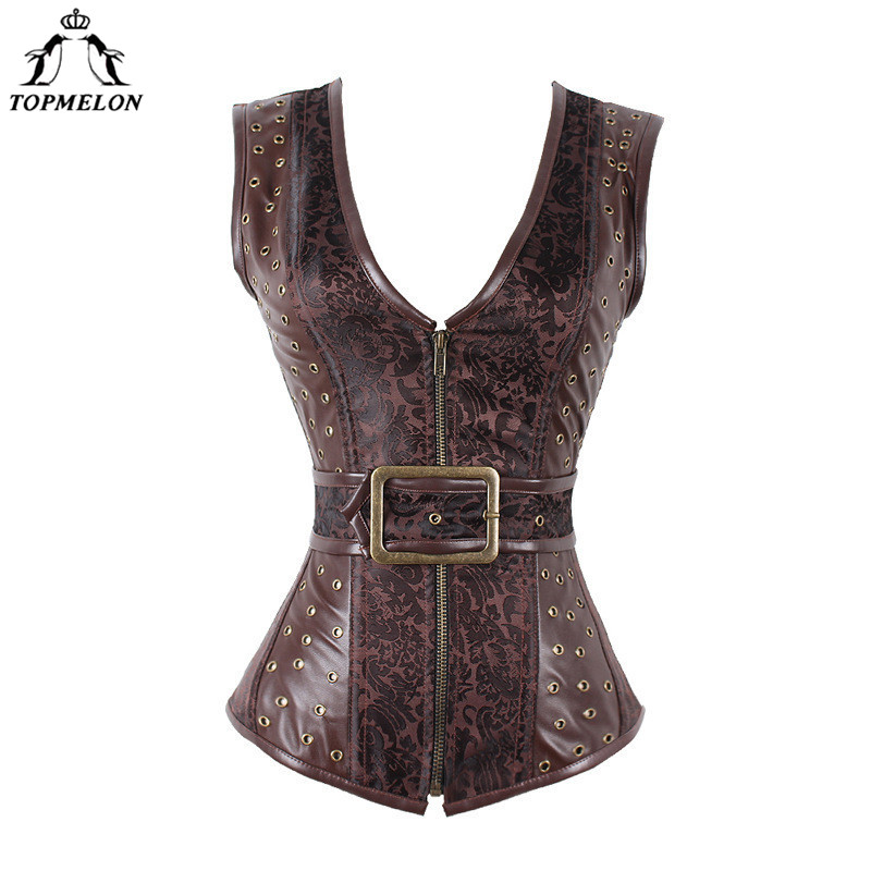 TOPMELON Steampunk   Corset     Bustier   Gothic Modeling Strap   Corset   Women Corselet Sexy   Corset   Brown Retro Rivet Steel Boned Tops