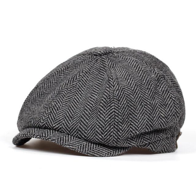 753ae0ad24649 Fashion Herringbone Tweed Gatsby Newsboy Cap Men Wool Ivy Hat Golf ...