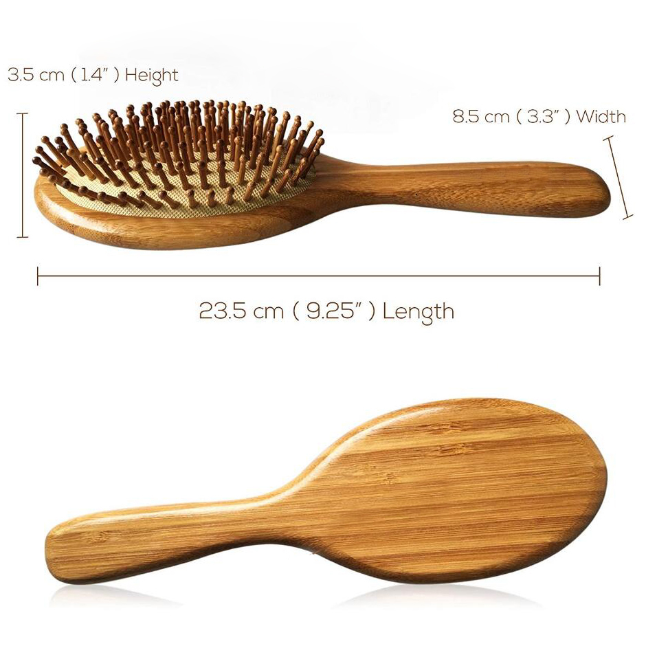 Premium Wooden Bamboo Hair Brush Improve Hair Growth Wood Hairbrush Prevent Hair Loss Comb Bamboo Comb Teeth D50