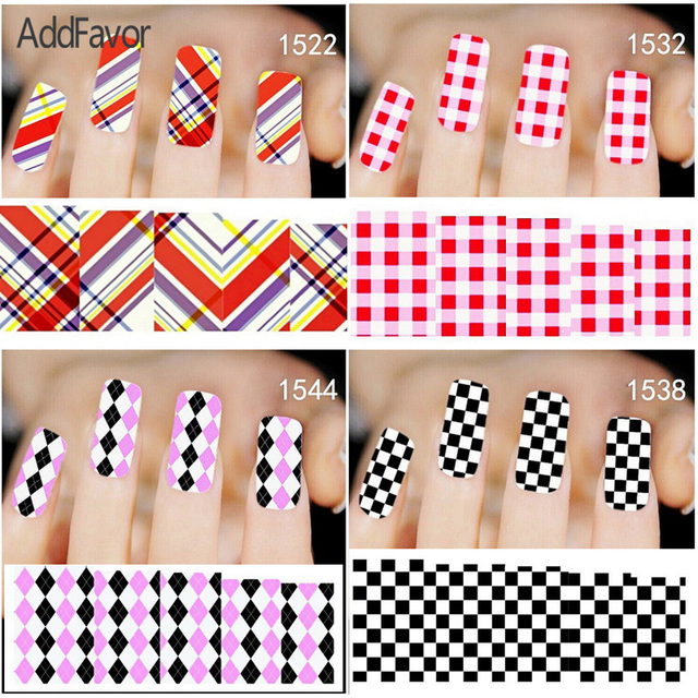 US $3.06 |AddFavor 6Sheet Custom Fingernail Sticker Grid Checked Pattern  Nail Art Decoration Decals Makeup Tools Foil Manicure Damier-in Stickers &  ...