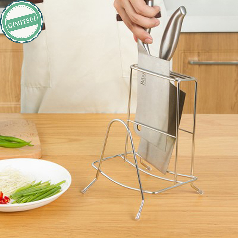 Kitchen Storage Organizer Knife Holder Block Racks Kitchen Cooking Store Stainless steel Cutting Board Holder Storage Knife