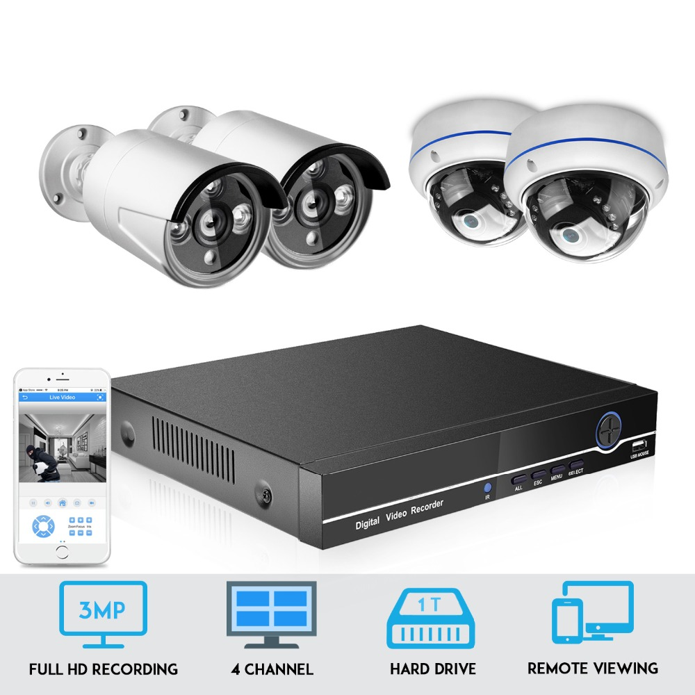 BESDER 4CH POE NVR Kit CCTV Security System 4PCS 1080P Record IP Camera Outdoor Waterproof Video Surveillance Kit 1TB HDD