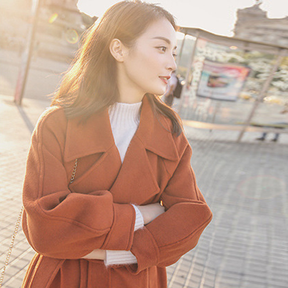2018 Autumn/Winter New Women'S Casual Wool Blend Trench Coat Oversize Long Coat With Belt Outwear Coat Pink Camel