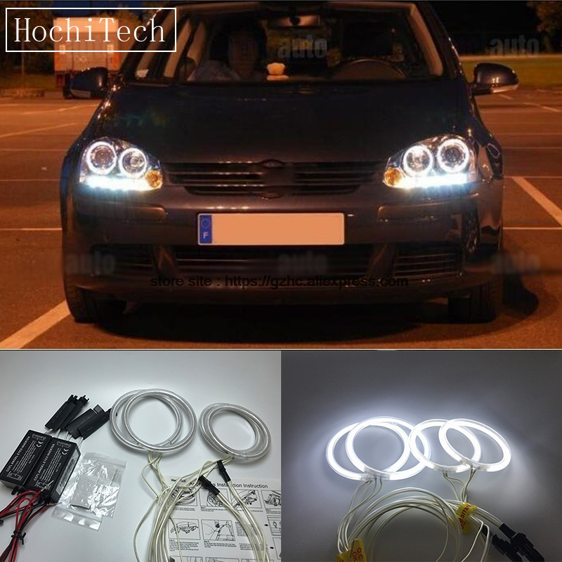 HochiTech For Volkswagen VW golf 5 MK5 2003-2009 Ultra Bright Day Light DRL CCFL Angel Eyes Demon Eyes Kit Warm White Halo Ring коврики в салон vw golf v 10 2003 2009 4 шт полиуретан