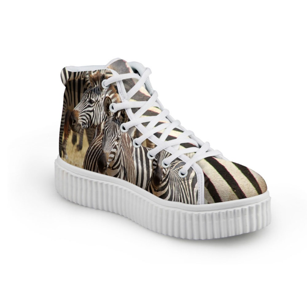 Noisydesigns women Flat Platform Shoes Black White Zebra Print High Top Creepers Female  ...