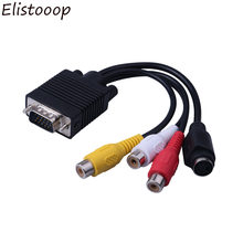 Elistooop VGA Laki-laki ke S-video 3 RCA Jack Perempuan Komposit AV TV Out Adapter Converter Konektor Kabel Video untuk Laptop PC HDTV(China)