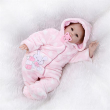 Big Size 22 Inch 55 cm Soft Silicone With Cotton Body Reborn Baby Dolls For Baby Girl/Boy Lifelike Newborn Babies Pink Clothes