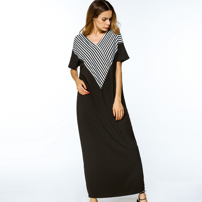 1865205 Embroidery Stripped Middle East summer turkey women long dress loose robes fashion vestidos mujer gowns in Islamic Clothing from Novelty Special Use