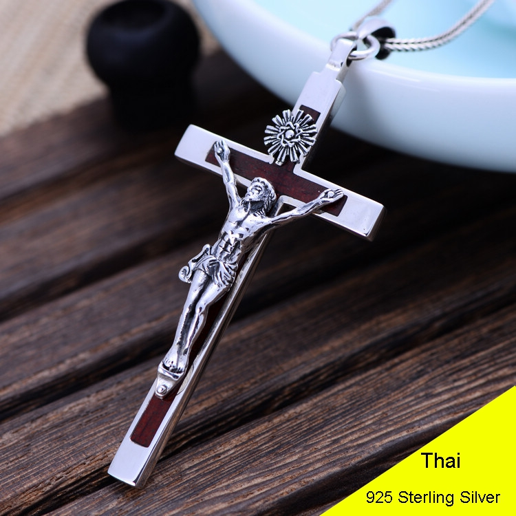 100% 925 Sterling Silver Thai Vintage Pendant Thai Sandalwood Suffering Jesus Retro Men Male Jewelry CH040916 925 sterling silver thai vintage pendant thai retro men male jewelry chian dragon bracelet ch059082