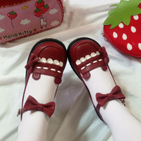 Japanese Kawaii Lolita Shoes Cute Bow Low Heel Round Head Red Flat Platform Shoes