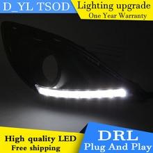 Car styling For Mazda2 12-14 LED DRL For Mazda2 led fog lamps daytime running High brightness guide LED DRL light Automobile.