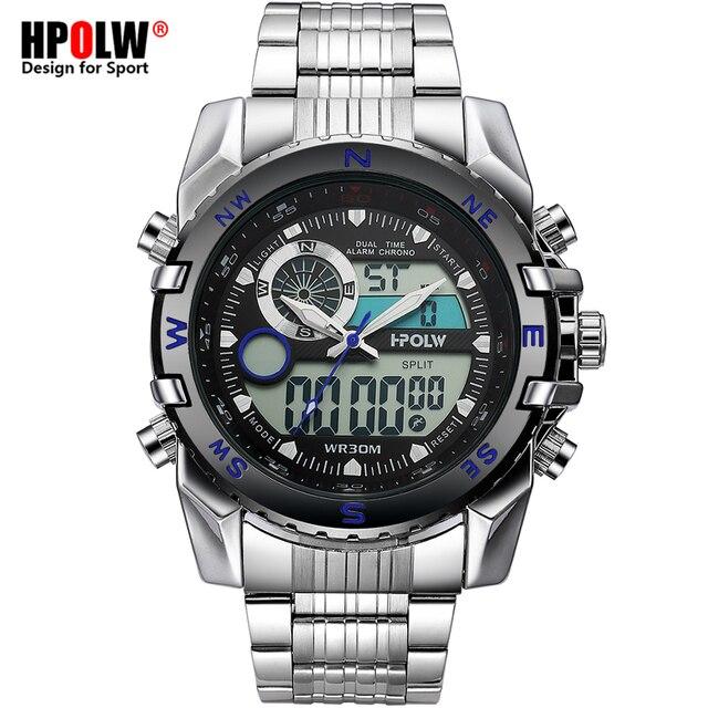 e0b7d2cf951 Esporte eletrônico Relógios dos homens Top Marca de Moda de Luxo LED Digital  Grande de Aço