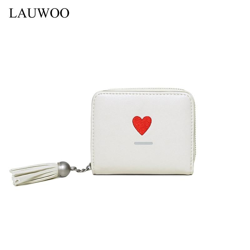 LAUWOO Good Quality Square Women Mini Cartoon Wallets Female Leather Tassel Zipper Kawaii Clutches Card Holders Short Coin Purse