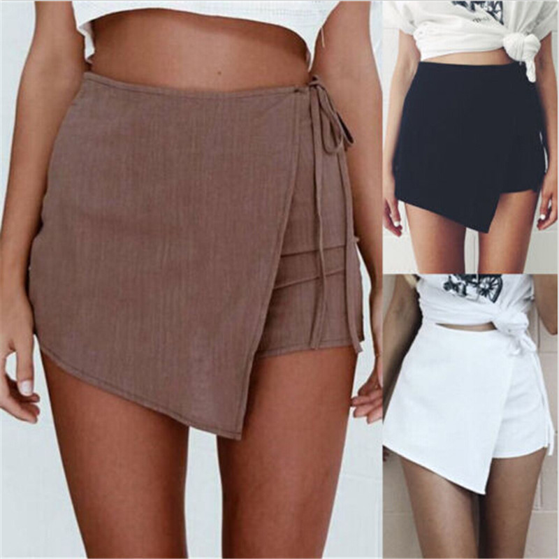 summertime women's wear relaxation high waist beach irregularity drawstring pure color   shorts