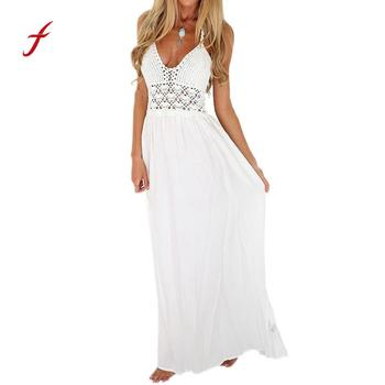 Women Maxi Long Dress Beach Crochet Backless Bohemian Halterneck Evening Party White summer dress vestido women beach dress Halterneck