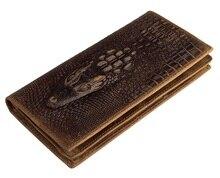 Free Shipping 100% Genuine LeatherAlligator Pattern Vintage Long Wallet Brown Pocketbook # 8030B