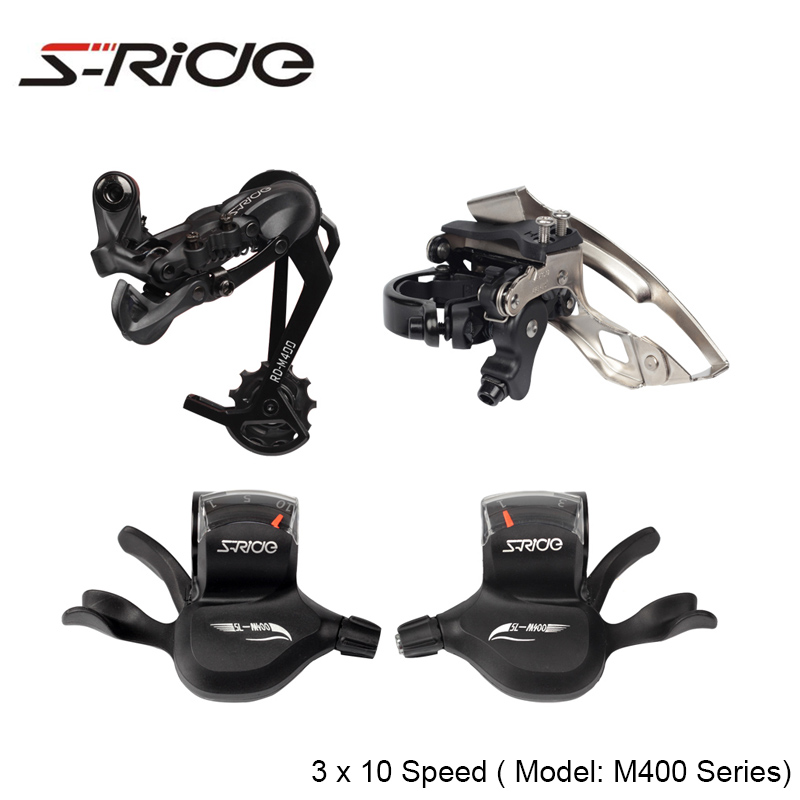 S-Ride M400 Mountian Bike 3 x 10 Speed Front Rear Derailleur + Trigger Shifter Cable Compatible With SHIMANO MTB Bicycle Parts