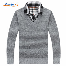 Covrlge Men's Sweaters Fashion Fake Two Pieces Mens Sweaters for 2017 Winter New Pullover Men Brand Knitted Sweater MZM023