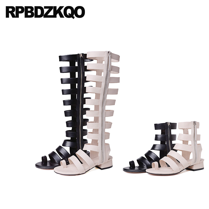 Genuine Leather Square Toe Ring Boots Low Heel Booties Thick Chunky Shoes Women Roman Pumps Knee High Gladiator Sandals Strappy women chic champagne patent leather sandals square thick high heels pumps covered heel single strap gladiator shoes golden pumps
