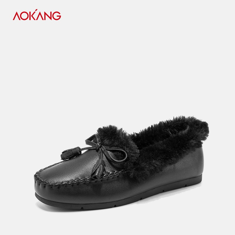 AOKANG 2018Winter Loafer Women Flats Heel Shoes Round Toe Genuine leather Warm Fur Ladies Casual Slip On zapatos de mujer Shoes loafers women flats heel shoes warm fur winter round toe female ladies casual slip on zapatos de mujer shoes plus size 856hu
