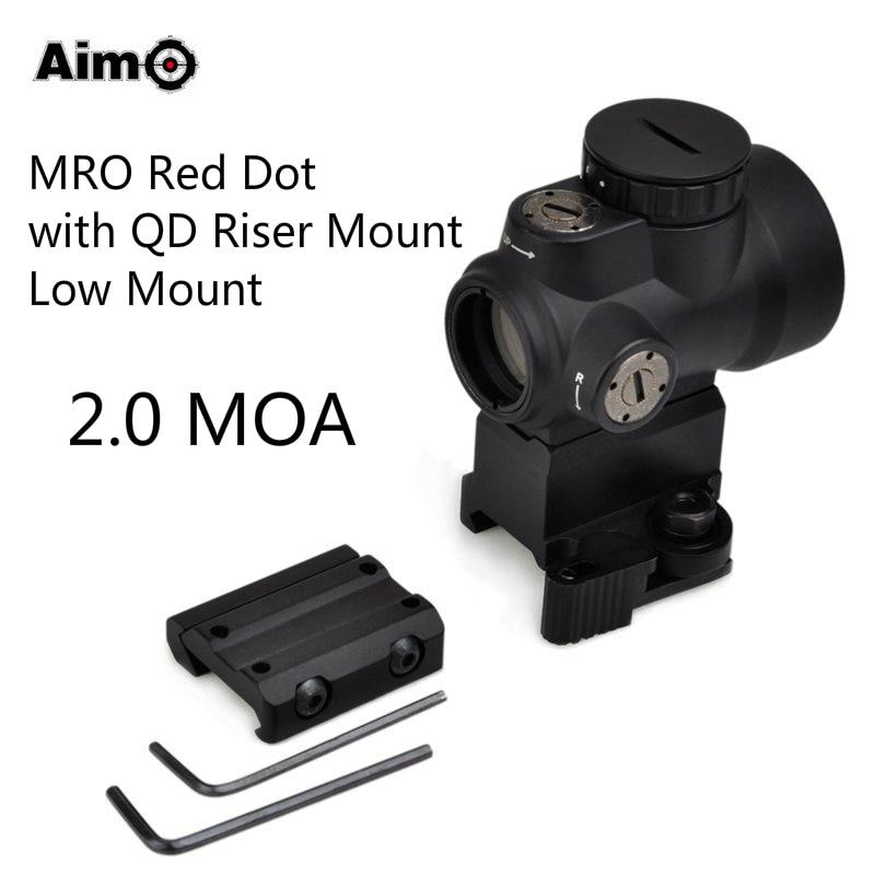 Aim-O MRO Rifle Scope Optical Weapon Sights Red Dot with QD Riser / Low Mount 2.0 MOA AO5087 клавиатура игровая logitech g810 orion spectrum 920 007750