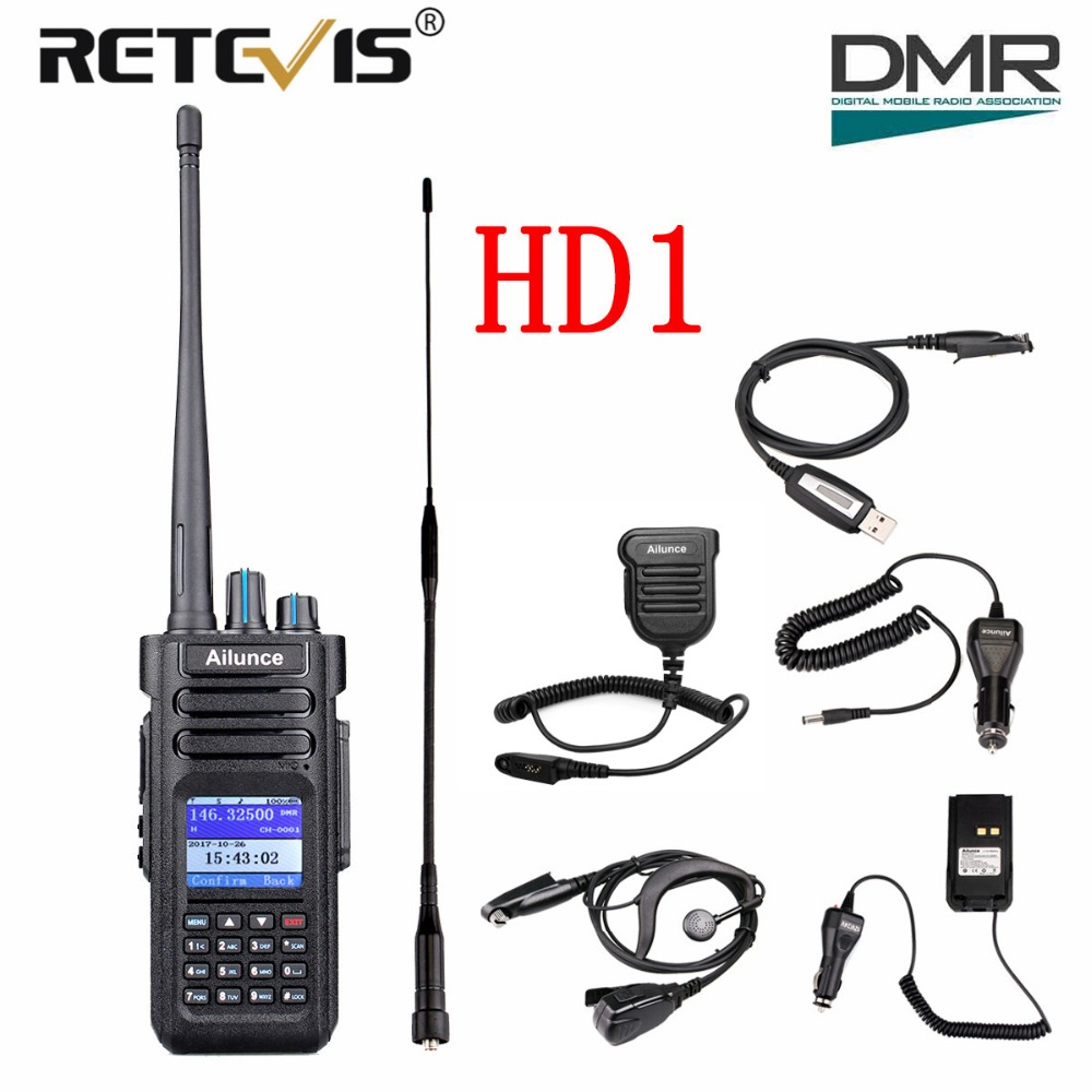 Retevis Ailunce HD1 Double Bande DMR Numérique Talkie Walkie (GPS) 10 w VHF UHF IP67 Étanche Jambon Amateur Radio Station + Accessoires