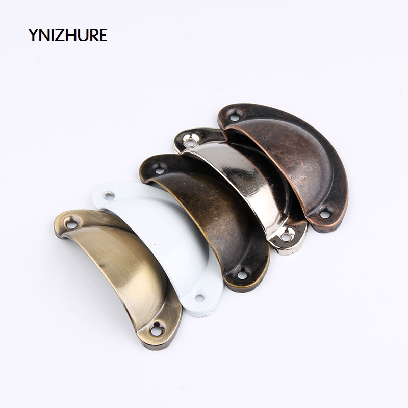 30Pcs 81mm*33mm 5 Colors Imitation Brass Iron Antique Shell Cup Drawer Cupboard Cabinet Door Pull Handles In stock furniture drawer handles wardrobe door handle and knobs cabinet kitchen hardware pull gold silver long hole spacing c c 96 224mm
