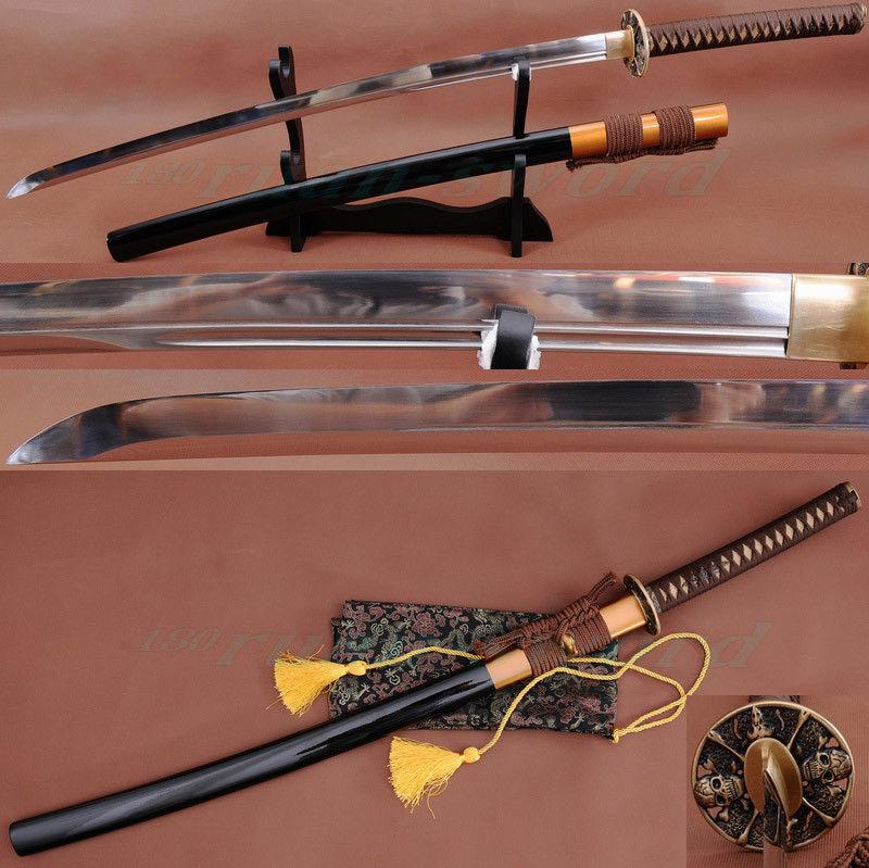 1095HIGH CARBON STEEL JAPANESE SAMURAI SWORD UNOKUBI ZUKURI STYLE FULLTANG SHARP