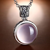 FNJ 925 Silver Pendant Pink Stone 100% Real S925 Solid Original Silver Natural Stone Pendants for Women Jewelry Making