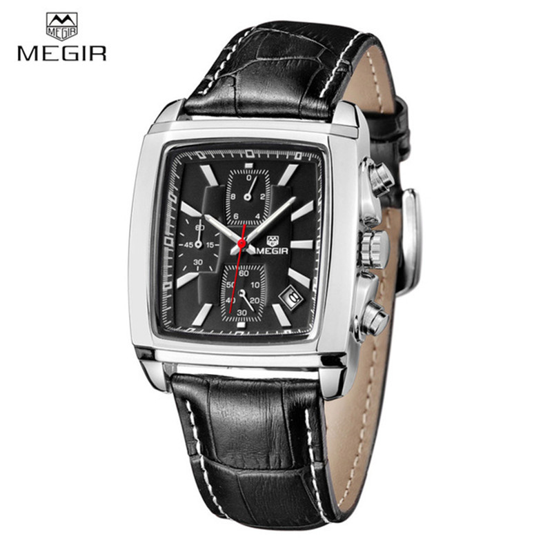 Megir Clock Men Quartz-watch Brand Chronograph Military Wrist Watches Men Fashion Casual Sport Genuine Leather Strap Watch Hour xonix sport brand fashion men military sports water resistant watches men s quartz clock man silicone strap casual wrist watch
