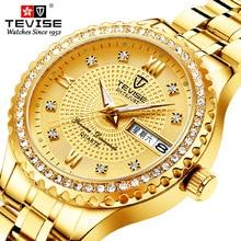 Tevise Fashion Black Quartz Watch Women Stainless Steel Watchband Auto