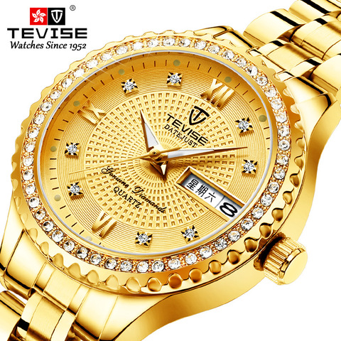 Tevise Fashion Black Quartz Watch Women Stainless Steel Watchband Auto Date Ladies Casual Wrist Watches Gift for Female Clock Pakistan